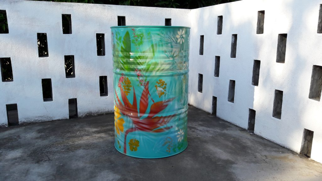 Drum with plants