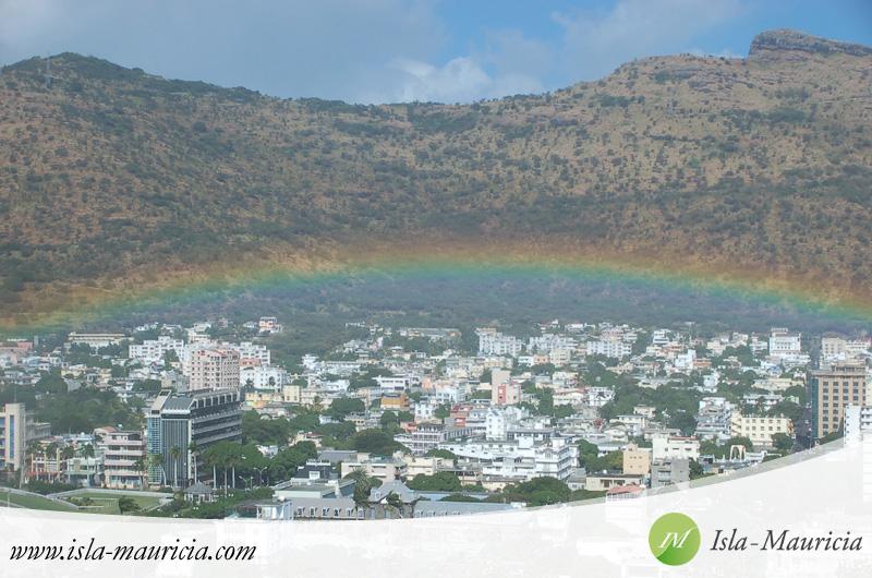 Mauritius - Port-Louis Panoramic View with Rainbow