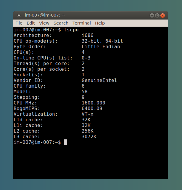 Ubuntu 14.04 Terminal-32bit or 64-bit CPU with lscpu