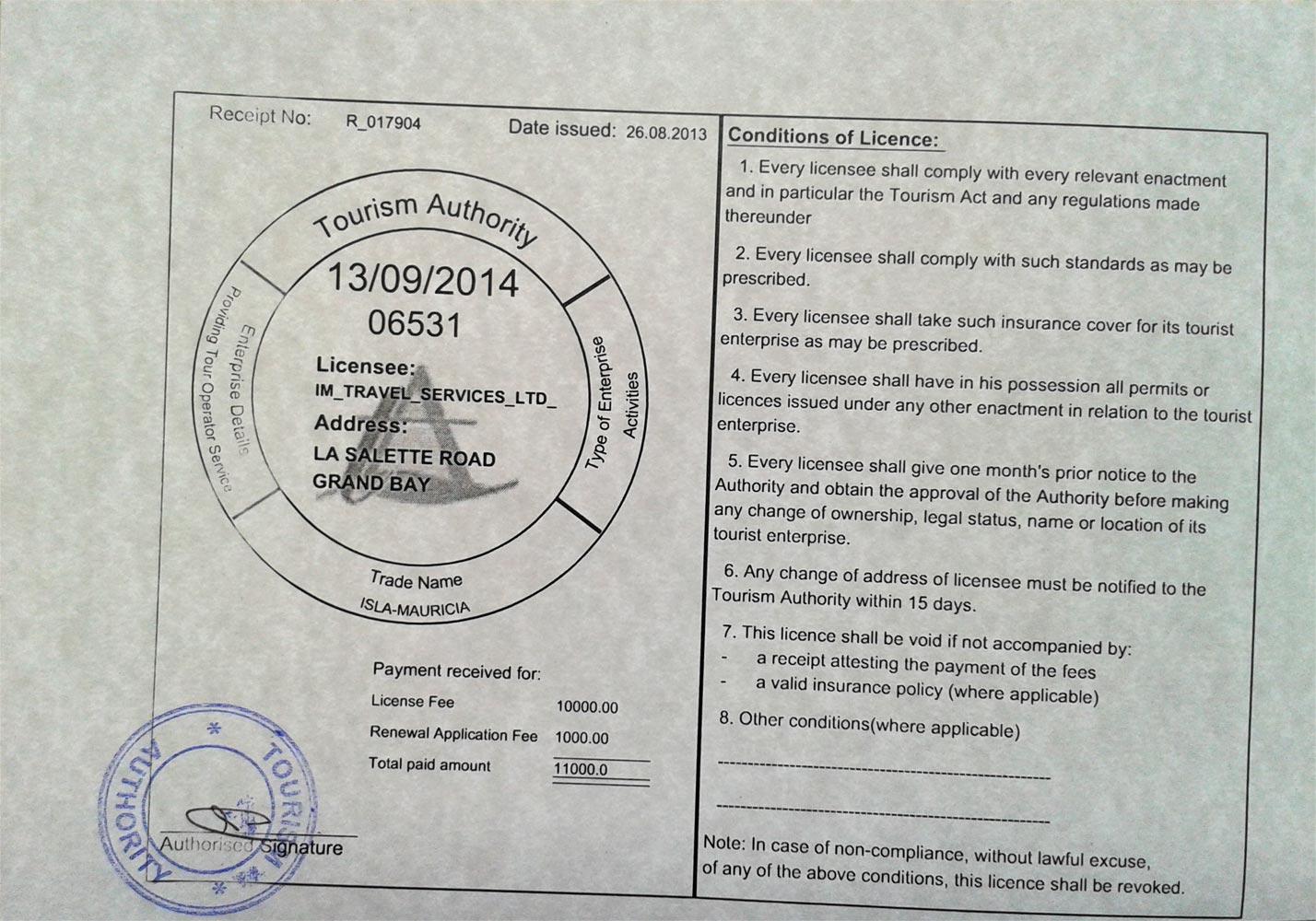 Tour Operators Licence of IM Travel Services Ltd.