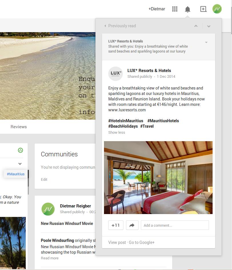 Lux advertising via Google Plus