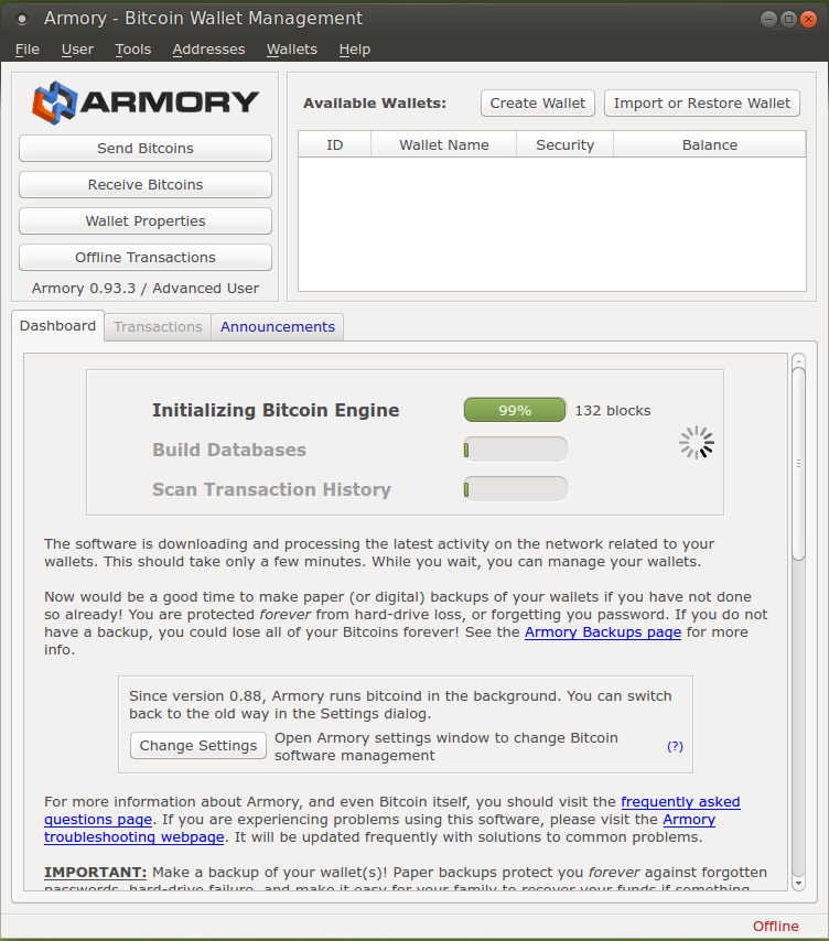 Armory - Initializing Bitcoin Engine