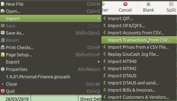 Import Transactions from CSV