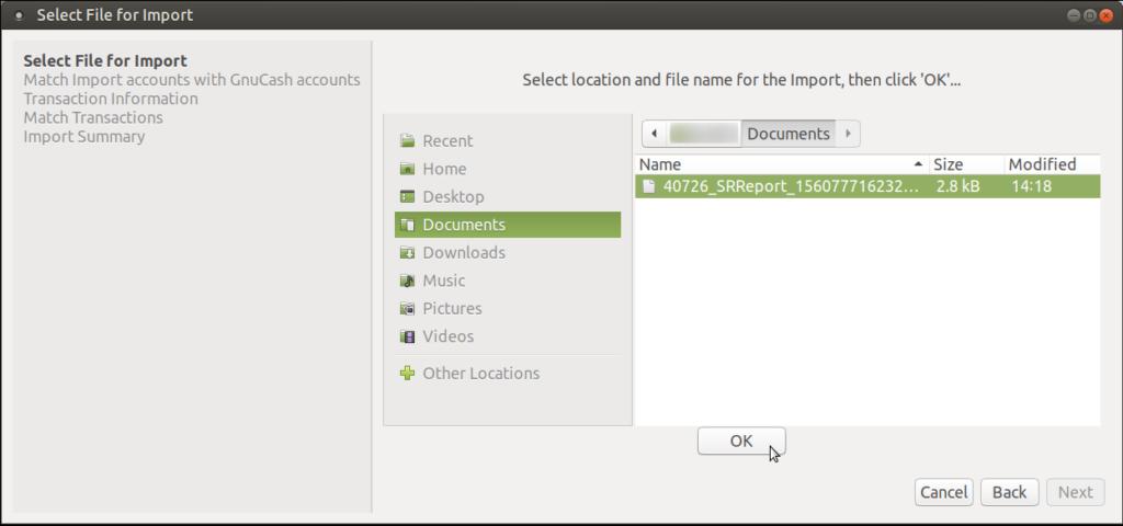 Select CSV Document Press OK