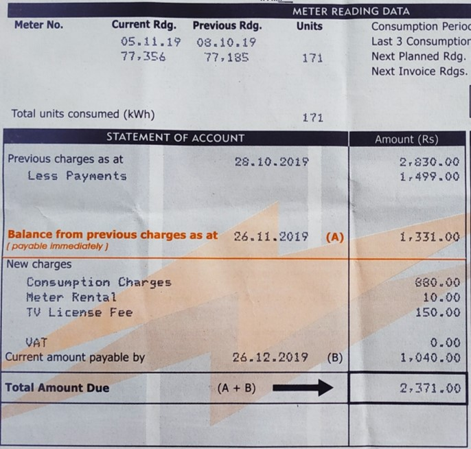 Sample CEB Electricity Bill for Tariff 120