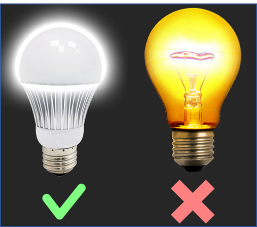 Incandescent bulb vs LED (Energy-saving) bulb